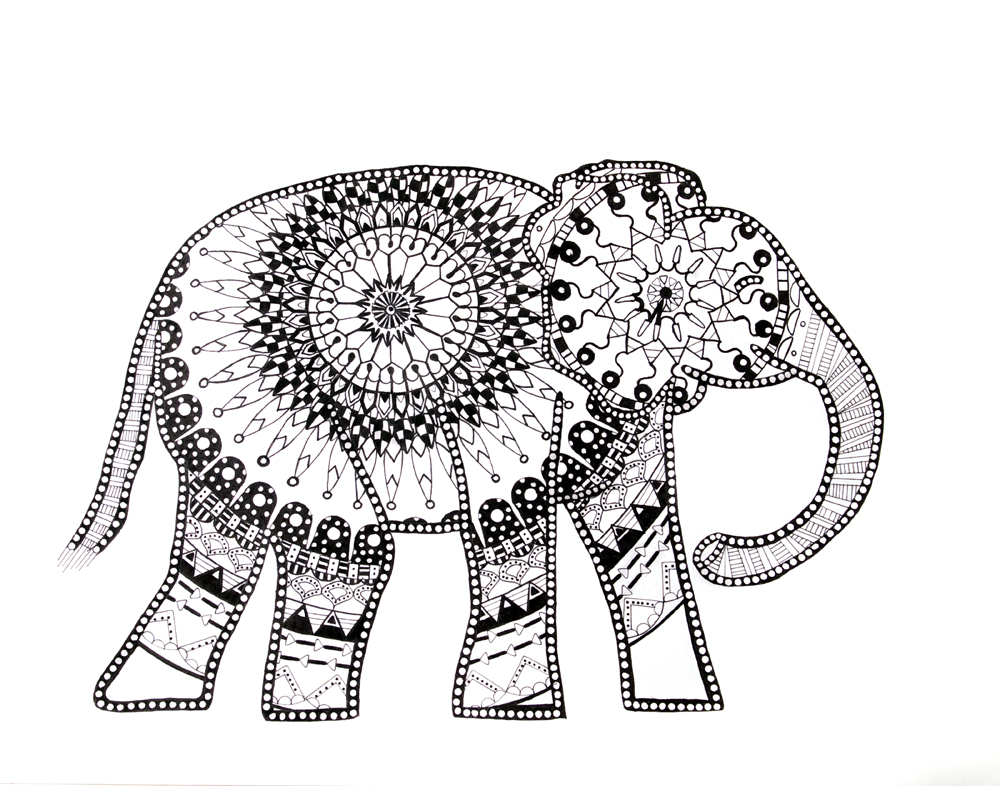 mandala elephant coloring pages easy - photo#23