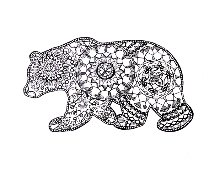California bear mandala print