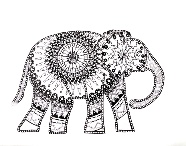 Elephant Mandala print